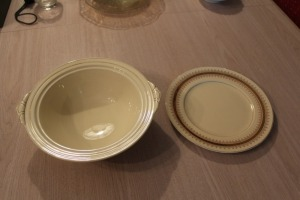 LOT OF TWO PIECES OF NEWHALL STAFFORDSHIRE ENGLAND SERVING BOWL AND PLATE