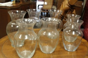 LOT OF 7 CLEAR GLASS VASES