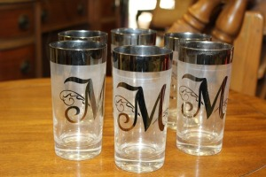 LOT OF 6 GLASSES WITH SILVER TRIM AND INITIAL M