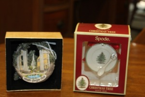LOT OF 2 CHRISTMAS DECORATIONS ONE SPODE CHRISTMAS TREE ORNAMENT ONE MIDDLE GEORGIA TECH CHRISTMAS ORNAMENT