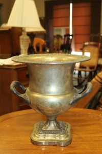 LARGE HANDLED SILVER PLATE CHAMPAGNE BUCKET