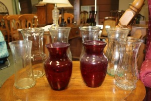 LARGE LOT OF GLASS VASES