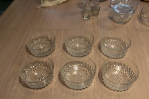 LOT OF 6 CRYSTAL GLASS SALAD BOWLS MARKED ON BOTTOM