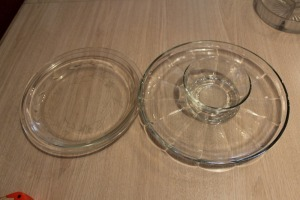 LARGE SERVING PLATTER WITH DIP BOWL WITH ETCHED GLASS DISH