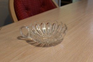 VINTAGE CUT GLASS BOWL WITH HANDLE