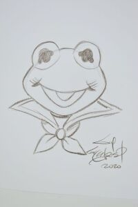 ORIGINAL GUY GILCHRIST DRAWING OF KERMIT 8.5 X 11 - DONATED BY THE FAMOUS GUY GILCHRIST