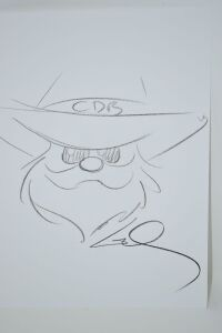 ORIGINAL GUY GILCHRIST DRAWING OF CHARLIE DANIELS 8.5 X 11 - DONATED BY THE FAMOUS GUY GILCHRIST