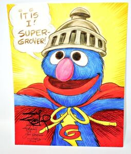 GUY GILCHRIST HAND SIGNED GROVER 8.5 X 11 ART PANEL - DONATED BY THE FAMOUS GUY GILCHRIST