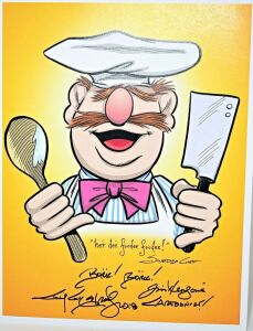 GUY GILCHRIST HAND SIGNED SWEDISH CHEF 8.5 X 11 ART PANEL - DONATED BY THE FAMOUS GUY GILCHRIST