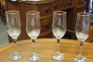 LOT OF 4 CRYSTAL GLASSES