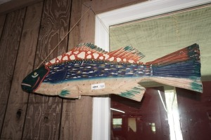 HAND-PAINTED CARVED WOOD HANGING FISH DECOR