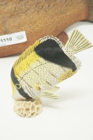 FISH FIGURINES INCLUDING CORAL AND LARGE CARVED WOOD - 5