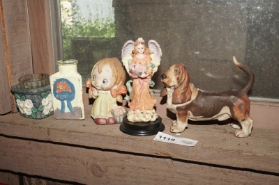 FIGURINES AND HAND-PAINTED ITEMS INCLUDING BASSET HOUND, OLD BISQUE PORCELAIN GIRL, ANGEL, AND MORE