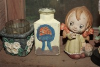 FIGURINES AND HAND-PAINTED ITEMS INCLUDING BASSET HOUND, OLD BISQUE PORCELAIN GIRL, ANGEL, AND MORE - 2