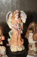 FIGURINES AND HAND-PAINTED ITEMS INCLUDING BASSET HOUND, OLD BISQUE PORCELAIN GIRL, ANGEL, AND MORE - 4