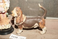 FIGURINES AND HAND-PAINTED ITEMS INCLUDING BASSET HOUND, OLD BISQUE PORCELAIN GIRL, ANGEL, AND MORE - 5