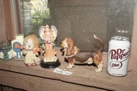 FIGURINES AND HAND-PAINTED ITEMS INCLUDING BASSET HOUND, OLD BISQUE PORCELAIN GIRL, ANGEL, AND MORE - 7