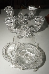 VINTAGE FORMAL GLASS CANDELABRAS AND 4 CRYSTAL BOBECHES