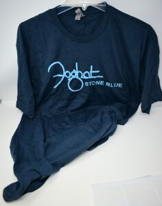 "FOGHAT SUPER SOFT XL T-SHIRT ""STONE BLUE"" - DONATED BY FOGHAT"