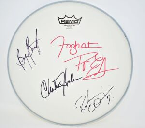 "FOGHAT HAND AUTOGRAPHED 14"" REMO DRUM HEAD - DONATED BY FOGHAT"