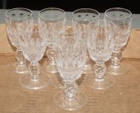 WATERFORD CRYSTAL SHERRY STEMS, 8 PIECES