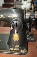 ANTIQUE SINGER SEWING TABLE AND MACHINE - 5