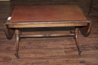 OLD INLAID DROP LEAF COFFEE TABLE ON CASTERS - 2