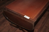 OLD INLAID DROP LEAF COFFEE TABLE ON CASTERS - 3
