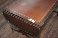 OLD INLAID DROP LEAF COFFEE TABLE ON CASTERS - 4