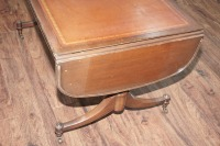 OLD INLAID DROP LEAF COFFEE TABLE ON CASTERS - 5