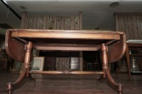 OLD INLAID DROP LEAF COFFEE TABLE ON CASTERS - 8