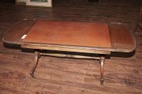 OLD INLAID DROP LEAF COFFEE TABLE ON CASTERS - 13
