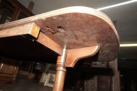 OLD INLAID DROP LEAF COFFEE TABLE ON CASTERS - 15