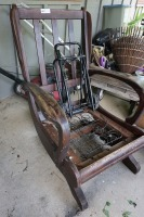 VINTAGE ROCKING CHAIR AND LUGGAGE DOLLY