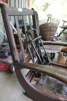 VINTAGE ROCKING CHAIR AND LUGGAGE DOLLY - 4