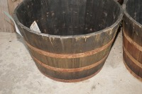 FOUR LARGE BARREL MOTIF PLANTERS AND CONTENTS - 2