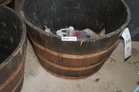 FOUR LARGE BARREL MOTIF PLANTERS AND CONTENTS - 3