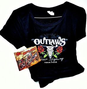 OUTLAWS HAND AUTOGRAPHED GIFT SET INCLUDES AUTOGRAPHED DIXIE HIGHWAY CD WITH SPECIAL GUEST BILLY CRAIN AND OUTLAWS LADIES XL SOFT T-SHIRT - DONATED BY OUTLAWS HENRY PAUL