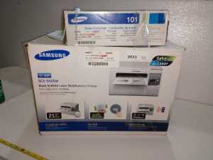 SAMSUNG SCX3405W, BLACK AND WHITE LASER MULTIFUNCTION PRINTER ALSO INCLUDES TONER CARTRIDGE, CONDITION UNKNOWN NOT TESTED