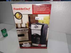 FRANKLIN CHEF TIN CUP COFFEE MAKER AND GRINDER, MODEL FLLG 107S