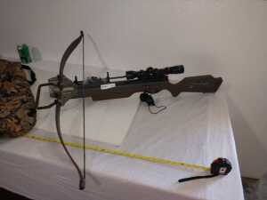 DIXON BY EXCALIBUR CROSSBOW WITH MOUNTED SIGHTS AND STORAGE BAG, SEE PICTURES FOR DETAILS AND MEASUREMENTS