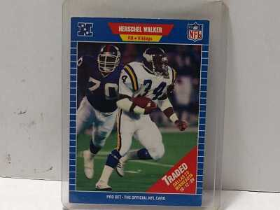 FOOTBALL CARD, HERSCHEL WALKER, RUNNING BACK VIKINGS, ALSO NO DOGS