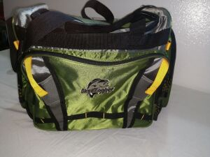 OKEECHOBEE FATS FISHERMAN'S TACKLE BAG, COMES WITH FOUR LARGE UTILITY BOXES INSIDE