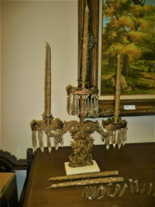 ANTIQUE CANDELABRA WITH MARBLE BASE, WOODEN CANDLES AND EXTRA CRYSTAL PRISMS