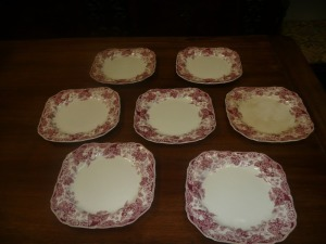 LOT OF 8 JOHNSON BROTHERS STRAWBERRY FAIR SQUARE SALAD PLATES