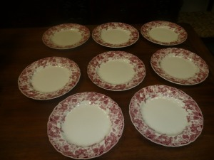LOT OF 8 JOHNSON BROTHERS STRAWBERRY FAIR DINNER PLATES