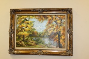 NICELY FRAMED VINTAGE PAINTING ON CANVAS SIGNED BY MJ LAWRENCE