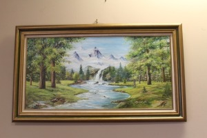 NICELY FRAMED VINTAGE PAINTING ON CANVAS OF MOUNTAINS SIGNED BY LAWRENCE