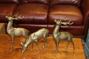 LOT OF 3 BRASS DEER STATUES