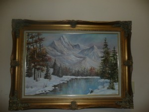 NICELY FRAMED PAINTING ON CANVAS SIGNED LAWRENCE 1974